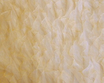 Gold Ruffles on Mesh Organza 54 Inch Wide Fabric By The Yard