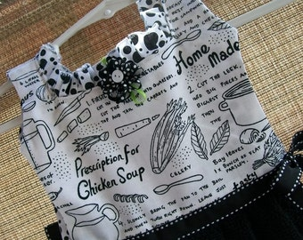 Homemade Chicken Soup Black and White Oven Door Kitchrn Dish Towel Dress