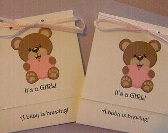 Baby Shower- Tea Bag Favors- It's a Girl - Teddy Bear