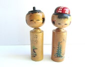 Vintage 1950 Kokeshi Sosaku Nodder Head Japanese Wood Doll Pair (2)