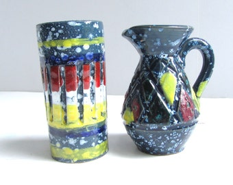 Vintage Bitossi Era Mini Vase Pair Blue Yellow Red White