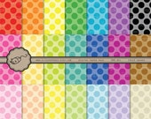 Rainbow Dot Digital Scrapbook Paper Large Modern Tonal Polka Dots For Scrapbooking, Invitations, Cards Instant Download jpeg