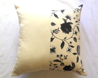 """Patchwork Cream Pillow Cover - Flowers Black, Gray and Cream Linen Fabric - 18x18"""" - Gift for Her, for Mom - Ready to Ship Decor"""