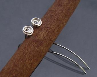 Sterling silver earrings - Rose earrings - Silver stud earrings
