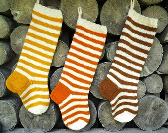 Christmas Stocking Personalized Wool  knit Striped stockings Christmas decoration Yellow Orange Brown Red Grey White