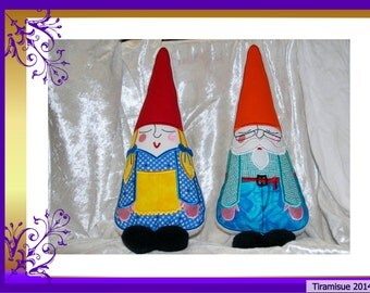 Maurice and Mathilda Gnome Cushions/Stuffies 8 x 12 (200x300mm)  Machine Embroidery Designs