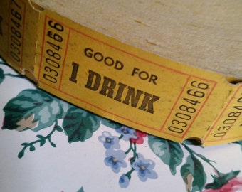 24 Vintage Yellow Drink Tickets Ephemera Tickets Lot Old Tickets Found Paper