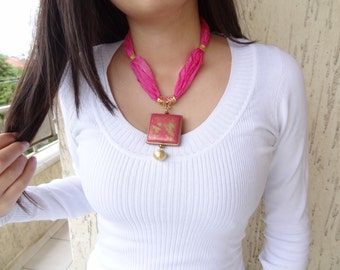 Candy Pink Jewelry,  Candy Pink Necklace ,  Gold Plated Pendant , Turkish Silk Necklace, gift for my friend