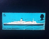 British Postage Stamp 5d RMS Queen Elizabeth 2 //  QE2 Cruise Liner Stamp // British Ship // Ship Illustration 1969 Stamp