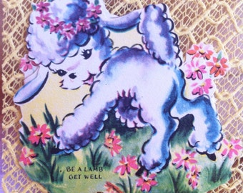 Lacies 1940's Die Cut Starched Lace Get Well// Pop Up 3D Card : Little Lamb in a Meadow// Vintage Lace//Yellow Lace Card
