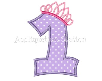 Number One Tiara Crown 1st Birthday Applique Machine Embroidery Design girl princess purple first  INSTANT DOWNLOAD