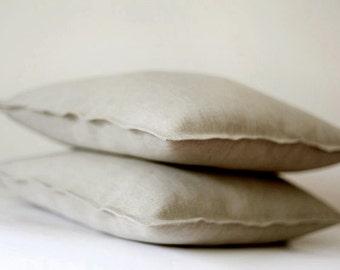 2 Linen pillow covers grey - decorative cases - throw pillows - shams   0051