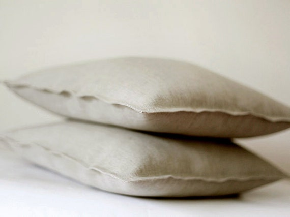 2 Linen pillow covers grey - decorative cases - throw pillows - shams   0051