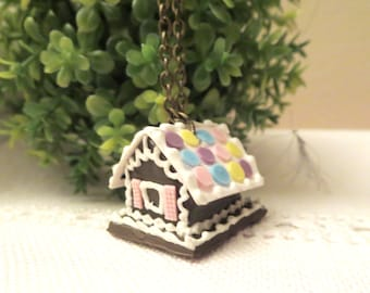 Sale Fairy Homes of Gingerbread -House  necklace -Tiny cottage  Necklace- Little  home necklace -gingerbread house-Christmas gift