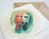 """Valentines / Anniversary Card - """"Will you be my Otter half"""" Love card"""