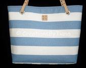 Blue and White - Stripes - Bag - Purse - Canvas - Nautical - Spring - Summer - Shoulder Bag - leather handles - Handmade - Handbag