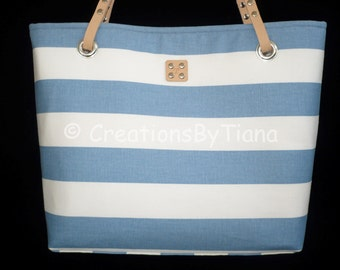 Blue and White - Stripes - Bag - Purse - Canvas - Nautical - Spring - Summer - Shoulder Bag - leather handles - Handmade - Handbag