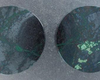 "Malachite Chrysocolla 11/8"", 28.5mm  one pair ear plug"