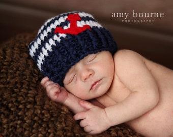 Crochet baby boy girl nautical hat beanie dark blue navy white stripes red felt anchor marine handmaded 0-3 months shower gift phopo prop