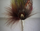 Feather Boutonnière, (Buttonhole) - Wedding Boutonnieres, Groom lapel pin