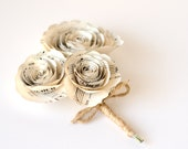 Rose Corsage made from Sheet Music or Book Pages - IN YOUR COLORS - Paper Wedding Flowers for Mothers, Grandmothers, Wedding Party