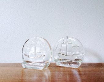 Blenko Clipper Ship Glass Bookends