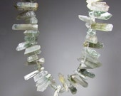 Lodolite, Green Phantom, Moss, Spotted Raw Quartz Thin Point  Nugget Dagger Beads 15mm to 30mm