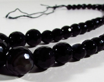 Black Agate Faceted Round Ball Beads Graduating Strand 5mm - 14mm