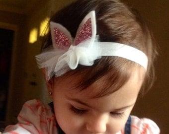 Ready to Ship, Easter bunny glitter ears headband , baby girl headband, Photo prop -