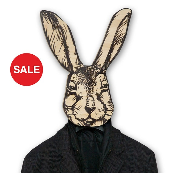 Sale 30% OFF Unique hanger - hook - mask - He - rabbit, use it for clothes or as a decor item thick quality birch plywood