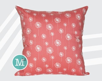 Coral Dandelion Pillow Cover Sham - 18 x 18, 20 x 20 and More Sizes - Zipper Closure - sc1820