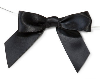 """Gloss Black 3"""" Pre-Tied Satin Bows with 5"""" Twist Ties~ 7/8"""" ribbon- Pack of 6"""