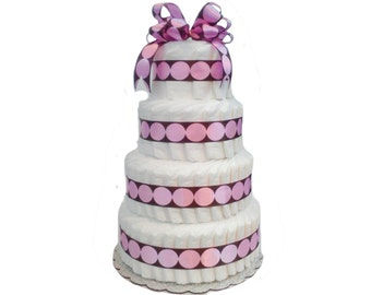 4 Layer Pink/Brown - Big Dot Baby Shower Diaper Cake