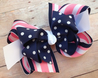 Navy, white & pink double boutique hair bow - navy boutique bow, girls hair bows, girls bows, boutique bows, navy bows, toddler bows