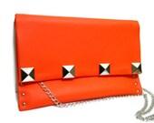 Orange Studded Clutch