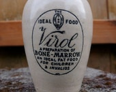 Antique container of Virol. Odd decor, Halloween!