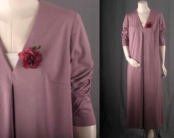 Vintage Maxi dress lavender purple A line tent 1970s seventies women size M medium