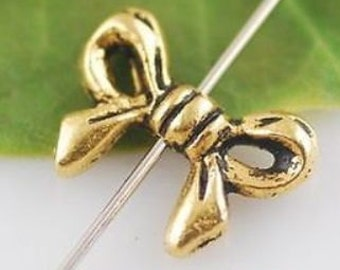Antique Silver or Gold Bow (10) Charms Beads ~ Makes great earrings or a necklace