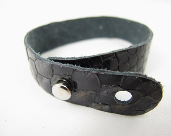 "Black Patent Snake Leather Stud Bracelet 5/8"" Wide"