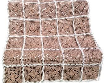 Crochet afghan handmade blanket crochet blanket taupe linen diamonds beige linen blanket, READY TO SHIP