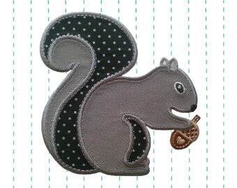 Grey Squirrel Iron on Patch Applique