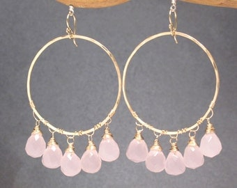 Large hoops with choice of gemstone Sahara 76