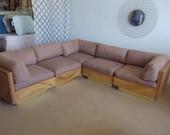 Mid Century Modern Palm Beach Designer Reed/Rattan/Brass five piece Sectional sofa