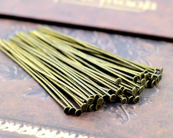 100pcs 50mm Antique Bronze T Pin/ Headpins Findings