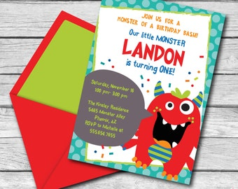 INSTANT DOWNLOAD, Monster Bash Birthday Boy, 5 x 7 Printable Invitation, You Edit Yourself in Adobe Reader