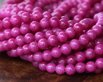 Mountain Jade Beads, Magenta, 6mm Round - 15 Inch Strand - eMJR-M08-6