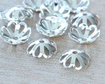 Bead Caps, Silver Plated, 10mm Fancy Flower - 50 pcs - eBCR005-SP