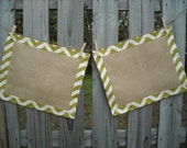 Chartreuse/ Lime Chevron and Burlap Placemats- Set of 2
