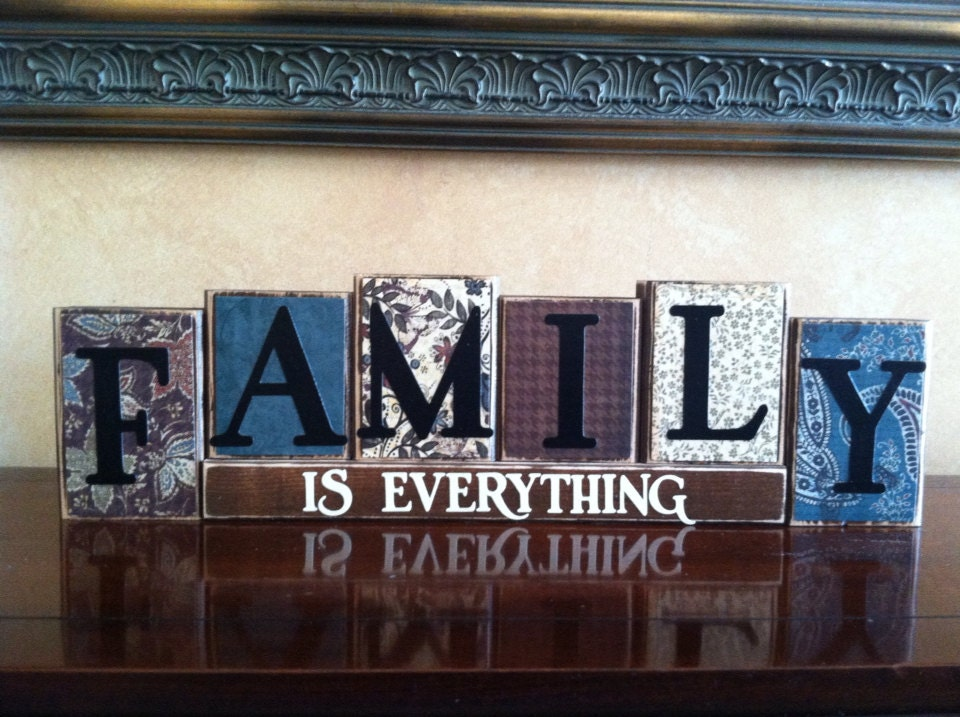 family is everything wood blocks wood sign home decor. Black Bedroom Furniture Sets. Home Design Ideas