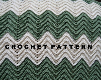 Crochet Pattern Ripple Blanket Chevron Afghan Throw  -  Digital Download